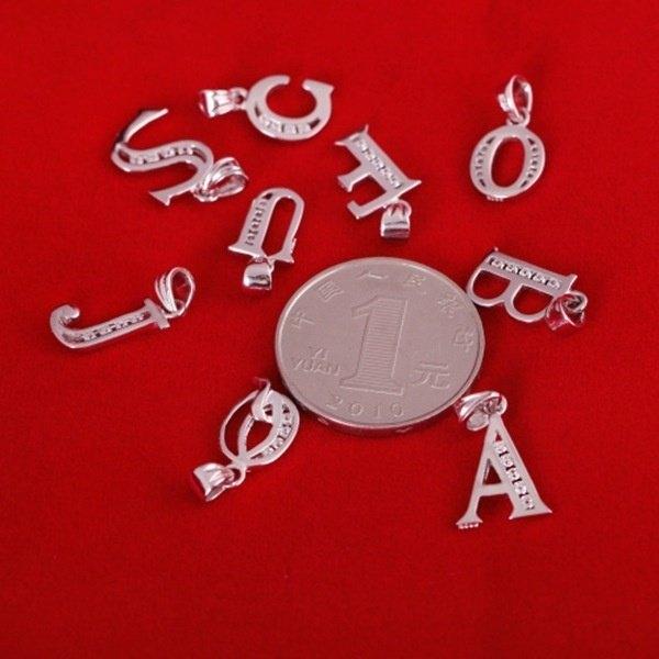 925 Silver Rhinestone Letter Pendant