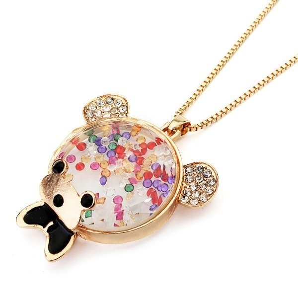 Cartoon Bear Glass Chain Necklace