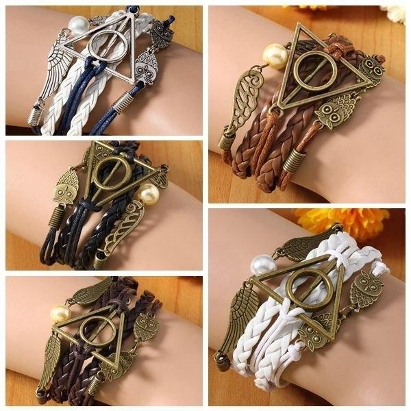 Owl Triangle Leather Bracelet