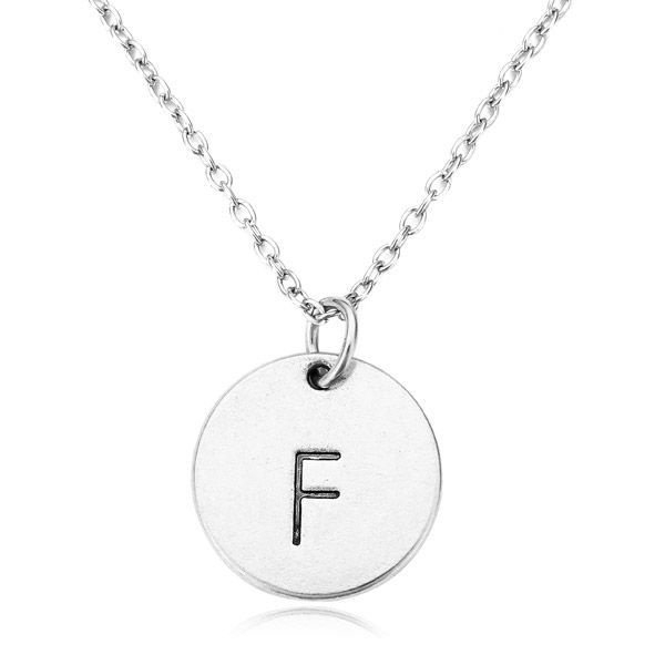 Letter Round Pendant Necklace