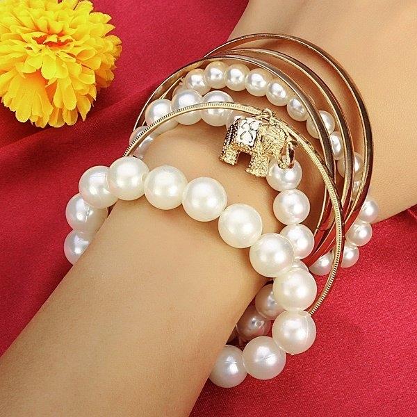 Pearl Elephant Stretch Bracelet