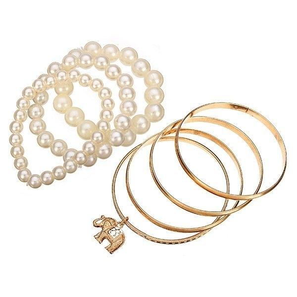 7 Layers Pearl Elephant Bracelet