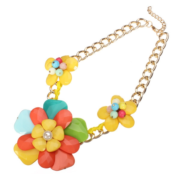 Resin Flower Statement Necklace