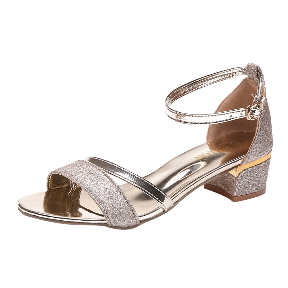e8f19a19cdd Fashion Blicool Shoes Fashion Women Sequins Sandals Ankle Mid Heel ...
