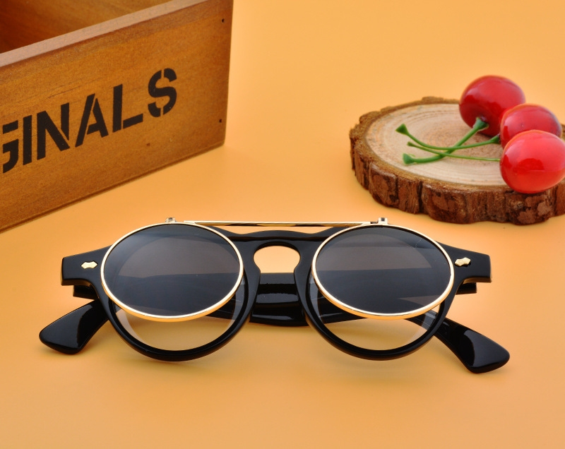 Men/Women Fashion Sunglasses Round Flip Up Retro Vintage Glasses black 28cm 5