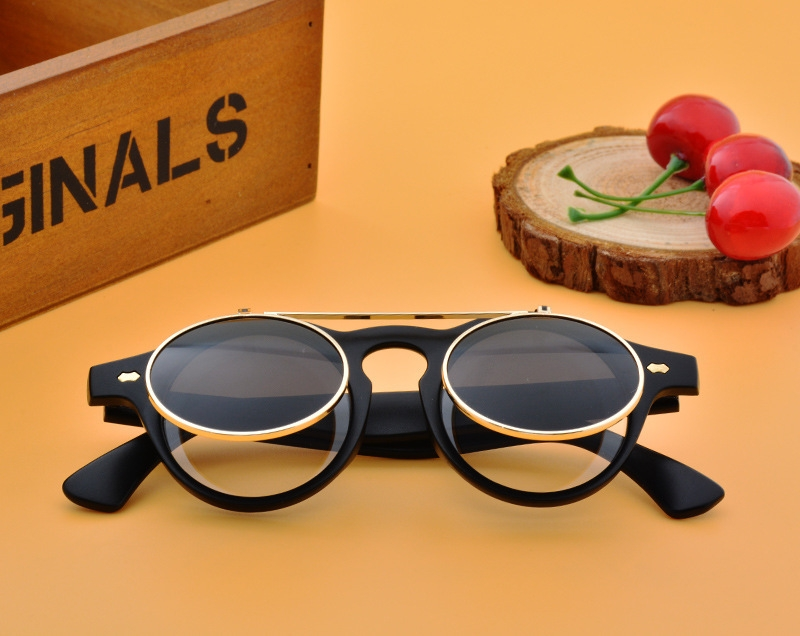 Men/Women Fashion Sunglasses Round Flip Up Retro Vintage Glasses black 28cm 7