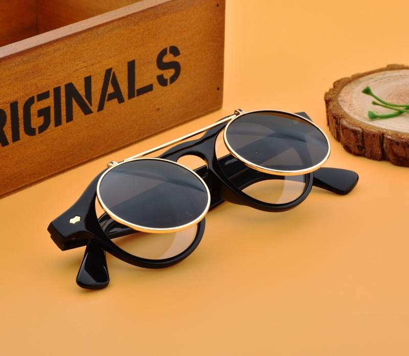 Men/Women Fashion Sunglasses Round Flip Up Retro Vintage Glasses black 28cm 6