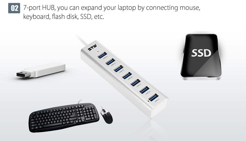 STW High Speed HUB Expansion USB 3.0 with 7 Ports