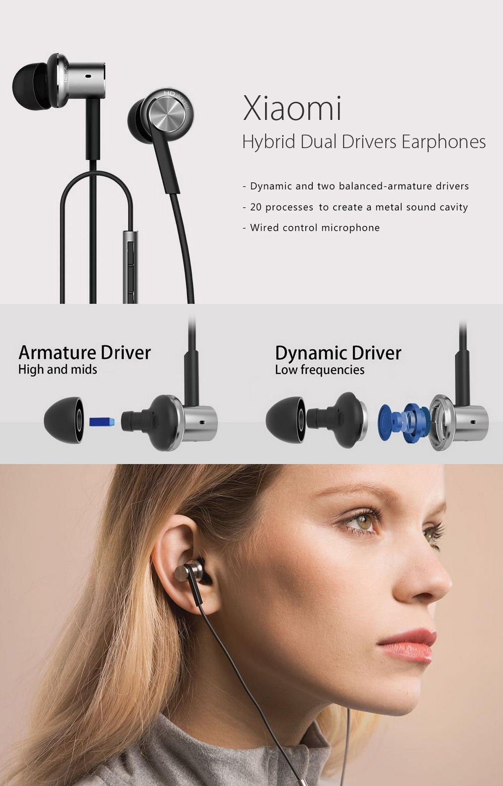 Xiaomi Mi IV In-ear 3.5mm Hybrid Dynamic and Two Balanced-armature Drivers Earphones with Microphone