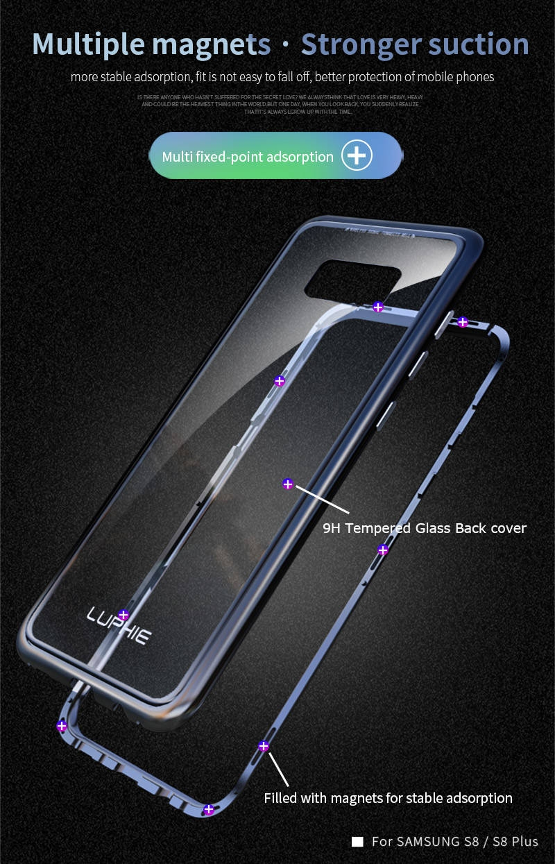 LUPHIE Magnetic Adsorption Case For Samsung Galaxy S9 S8 Plus Magnet Case Metal Bumper (6)