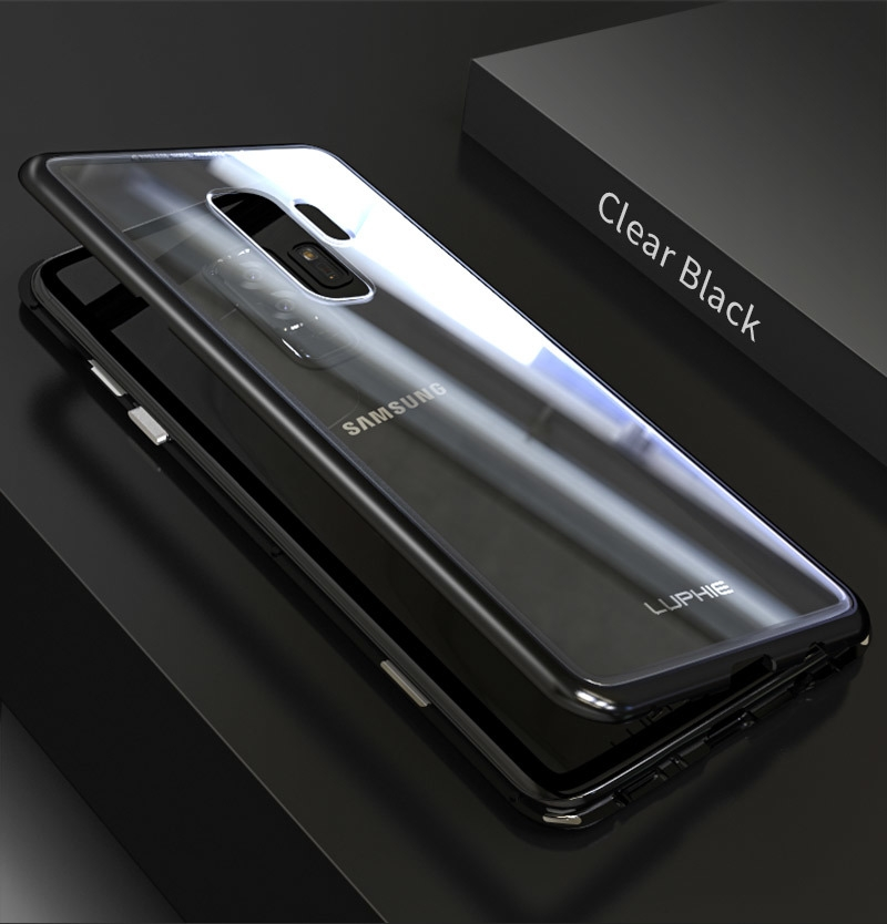 LUPHIE Magnetic Adsorption Case For Samsung Galaxy S9 Plus Metal Bumper Clear Glass Cover (7)