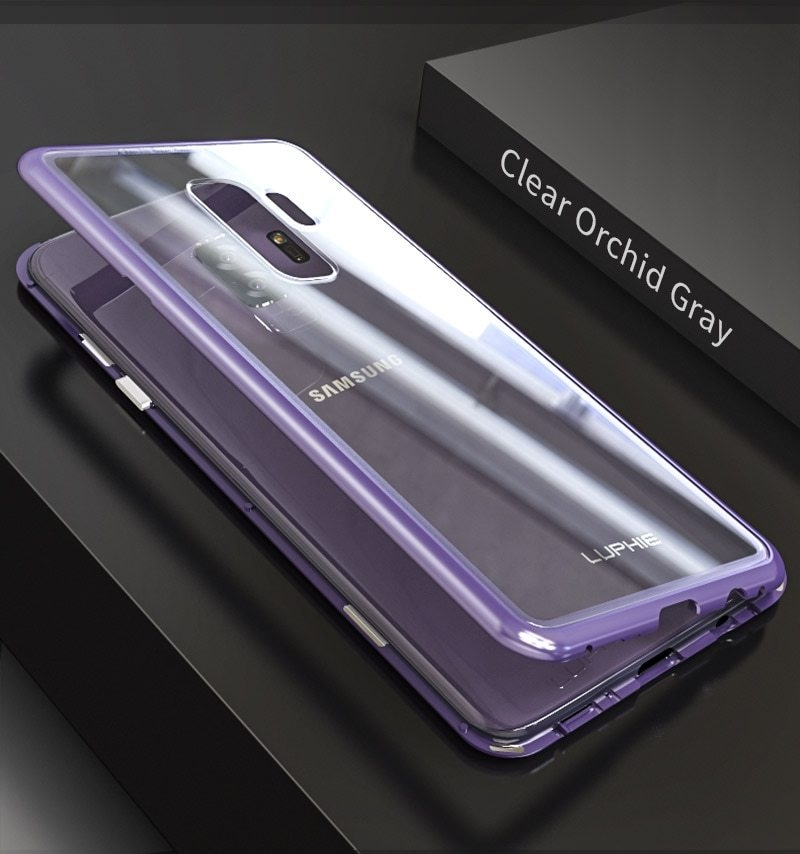 LUPHIE Magnetic Adsorption Case For Samsung Galaxy S9 Plus Metal Bumper Clear Glass Cover (10)