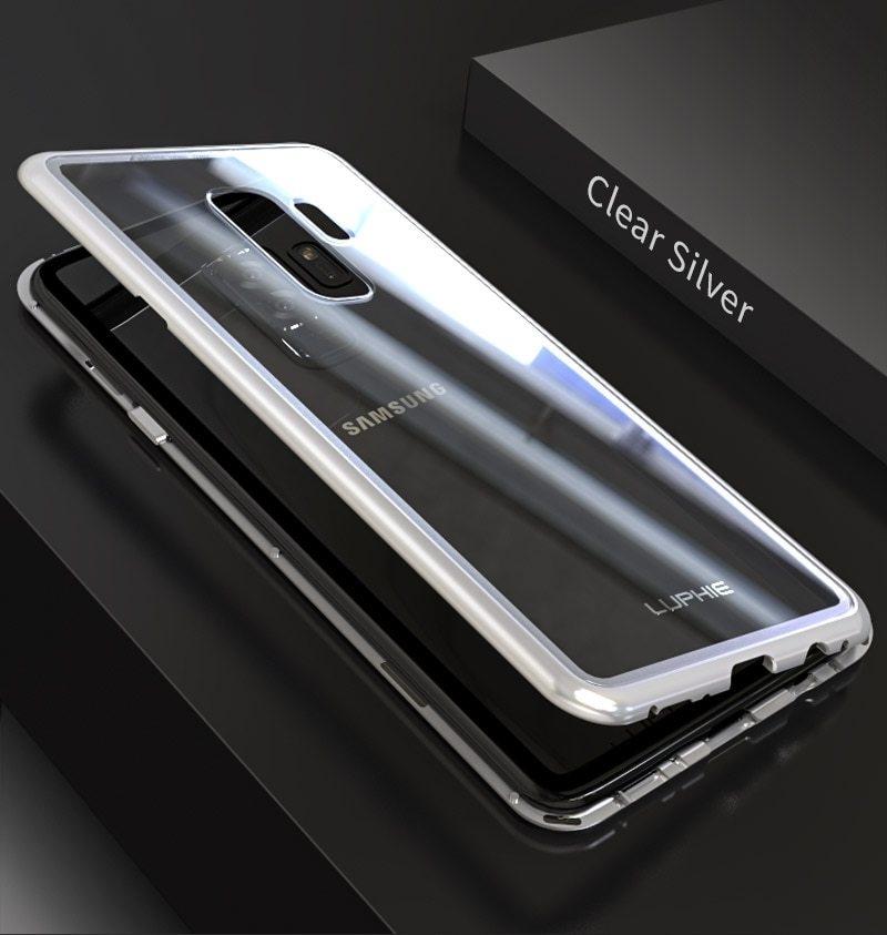 LUPHIE Magnetic Adsorption Case For Samsung Galaxy S9 Plus Metal Bumper Clear Glass Cover (8)