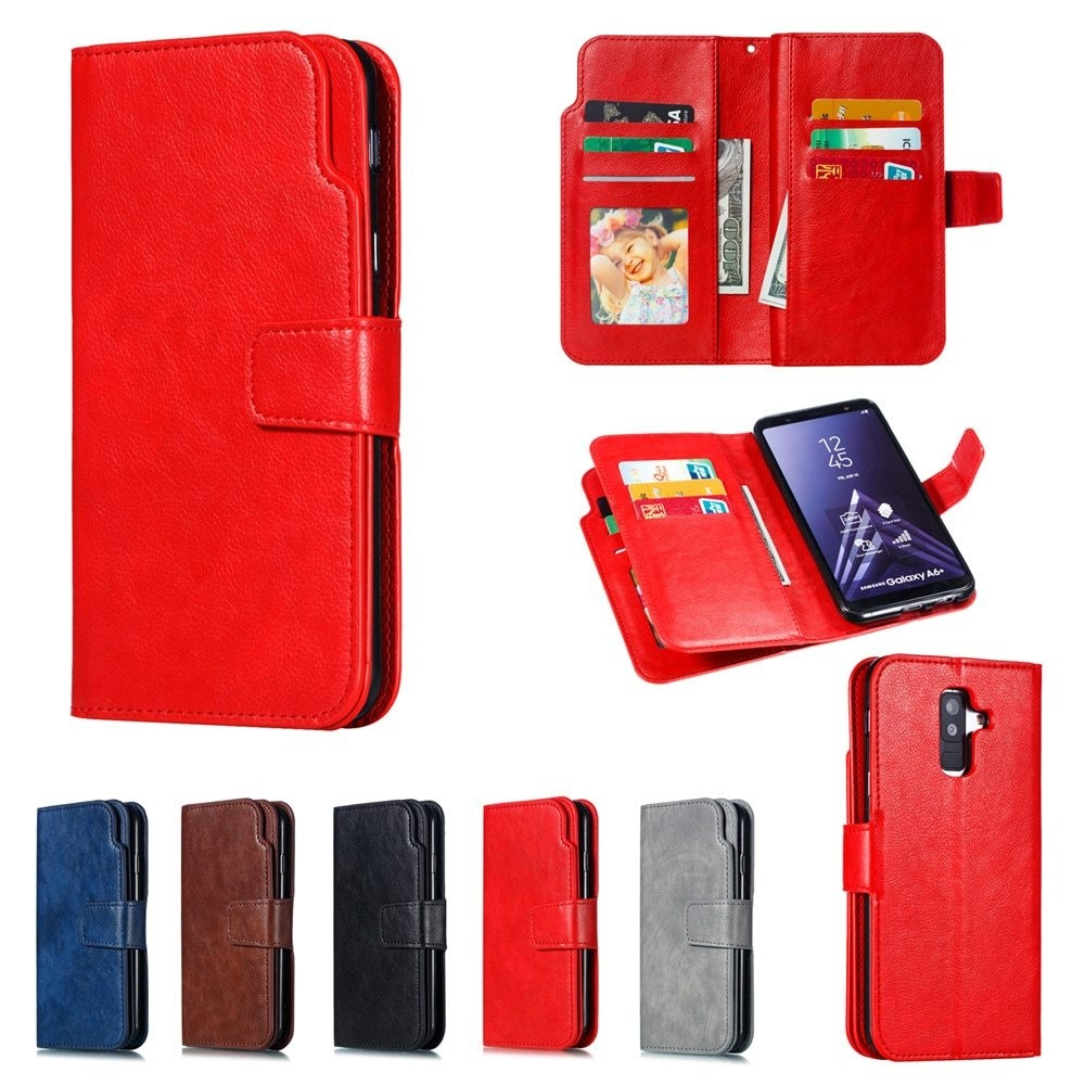 Leather case For Samsung Galaxy A6 A8 Plus A7 2018 Case Cover Wallet card holder Magnet Flip Phone cases on For Samsung Galaxy J4 J6 Plus Case Cover11