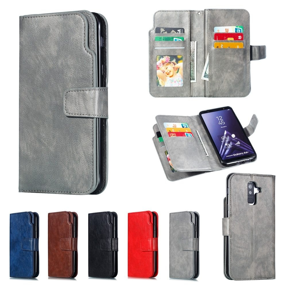 Leather case For Samsung Galaxy A6 A8 Plus A7 2018 Case Cover Wallet card holder Magnet Flip Phone cases on For Samsung Galaxy J4 J6 Plus Case Cover13