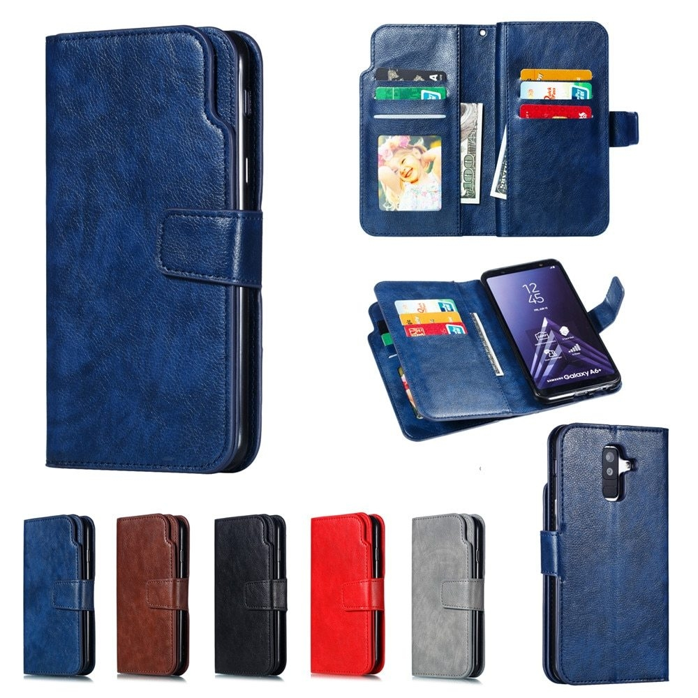 Leather case For Samsung Galaxy A6 A8 Plus A7 2018 Case Cover Wallet card holder Magnet Flip Phone cases on For Samsung Galaxy J4 J6 Plus Case Cover12