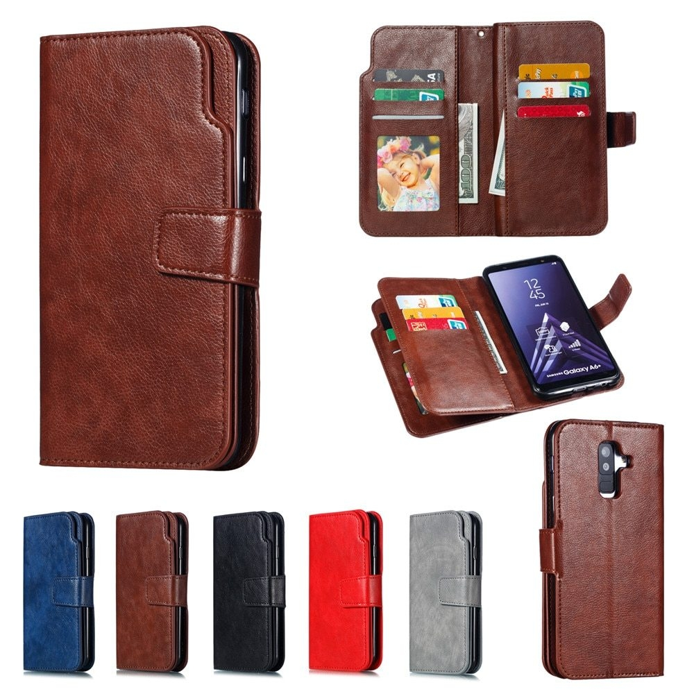 Leather case For Samsung Galaxy A6 A8 Plus A7 2018 Case Cover Wallet card holder Magnet Flip Phone cases on For Samsung Galaxy J4 J6 Plus Case Cover15