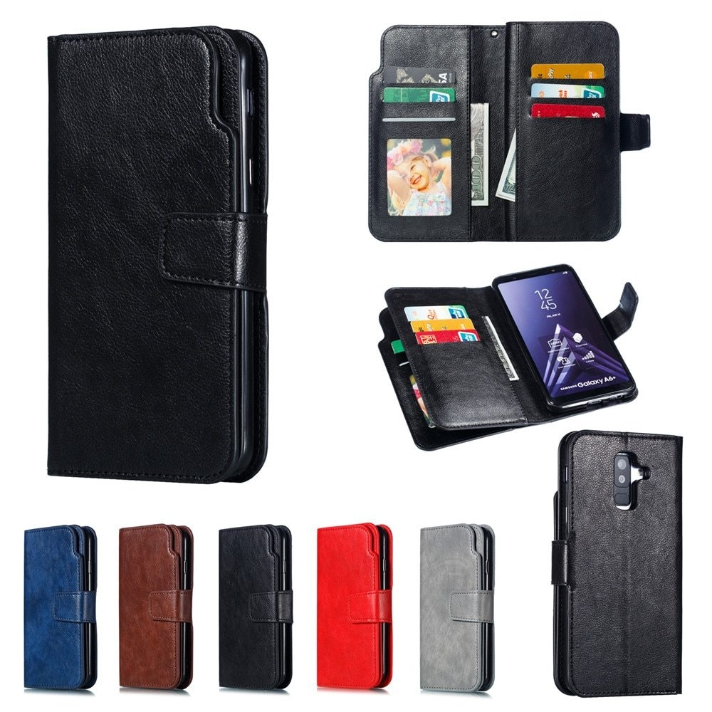 Leather case For Samsung Galaxy A6 A8 Plus A7 2018 Case Cover Wallet card holder Magnet Flip Phone cases on For Samsung Galaxy J4 J6 Plus Case Cover14