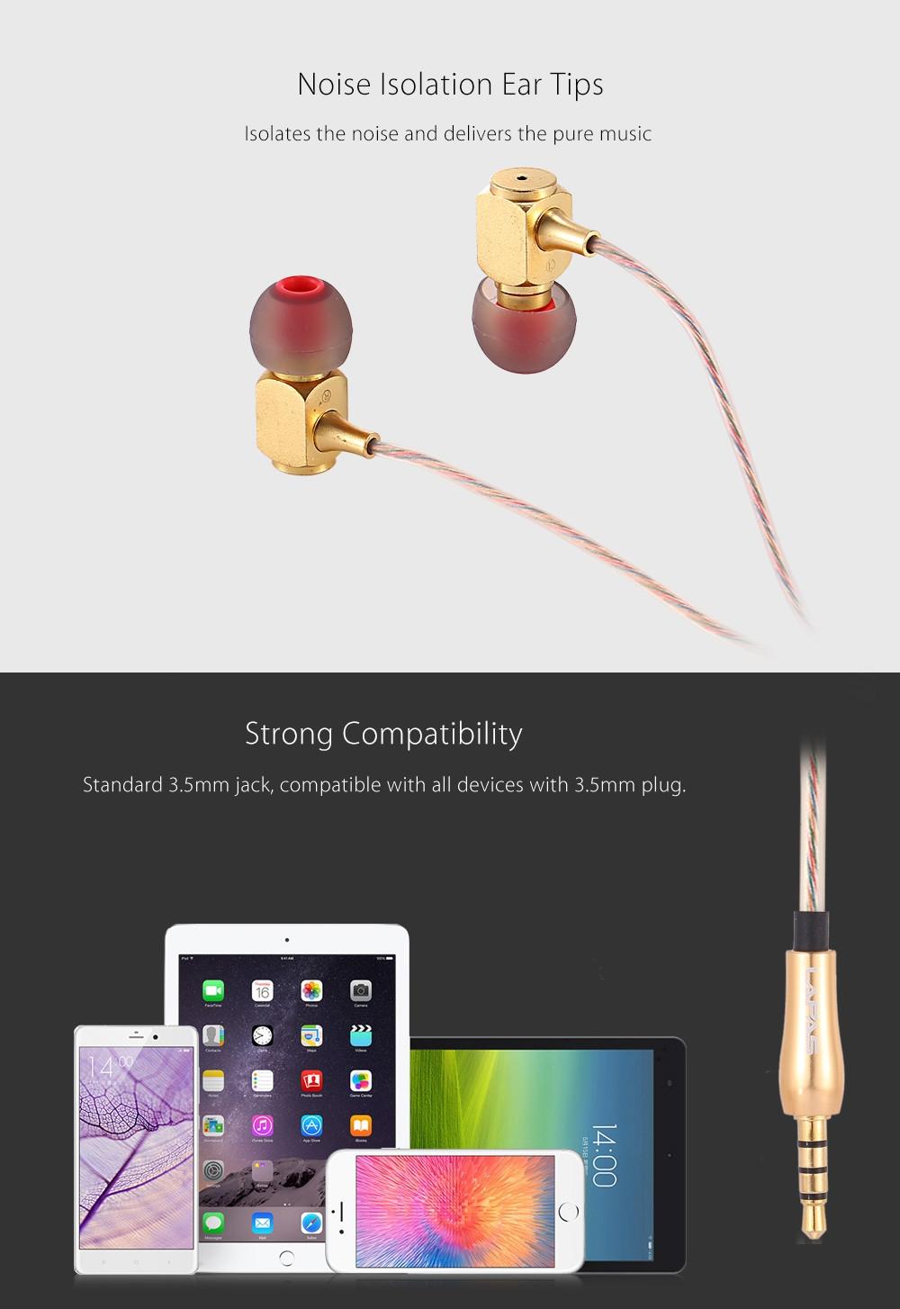 LAPAS RX400 HiFi Music In-ear Earphones In-line Control Brass Housing Noise Canceling
