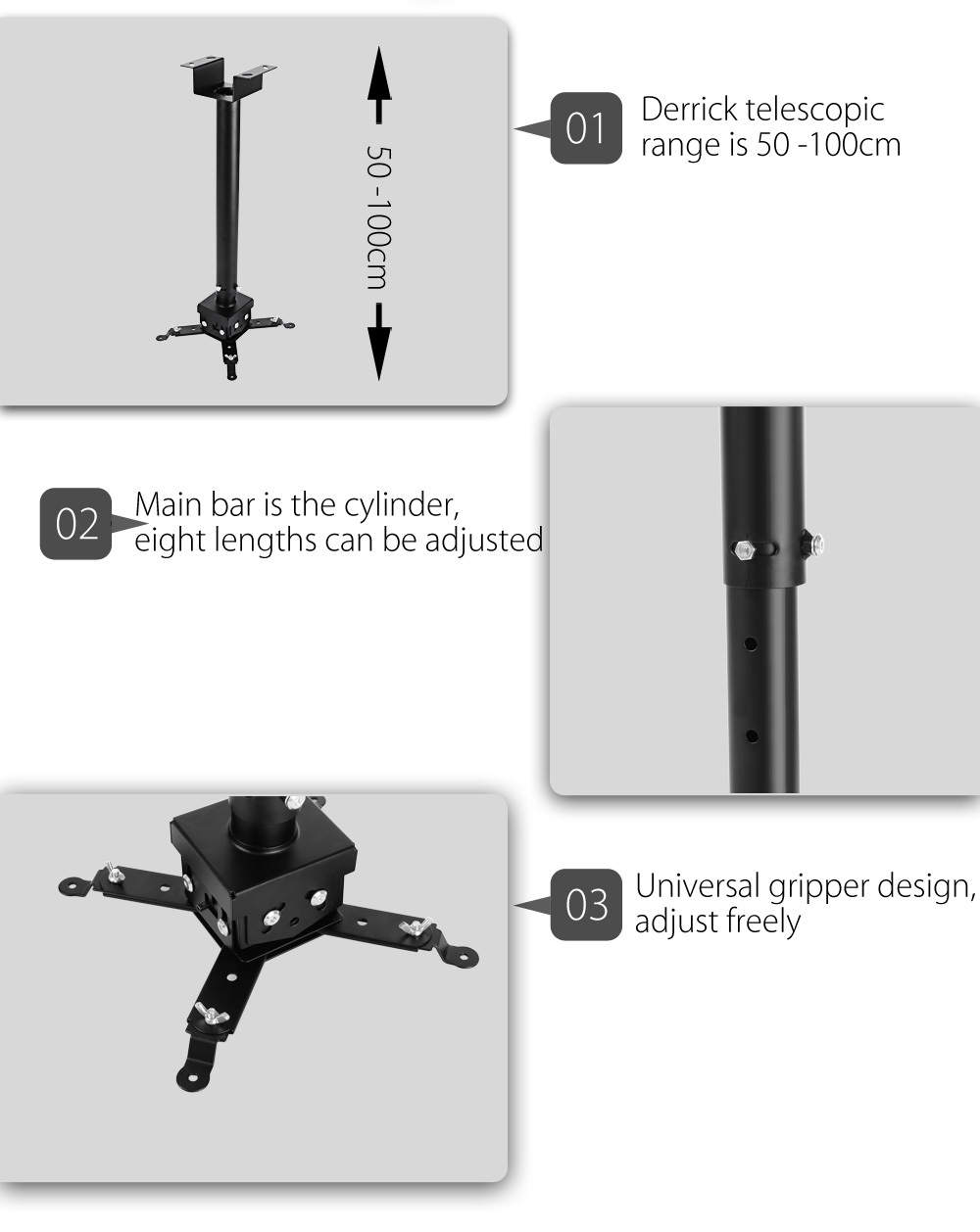 HY 1m Universal Adjustable Ceiling Projector Mount Extending Height Adjustable Projection
