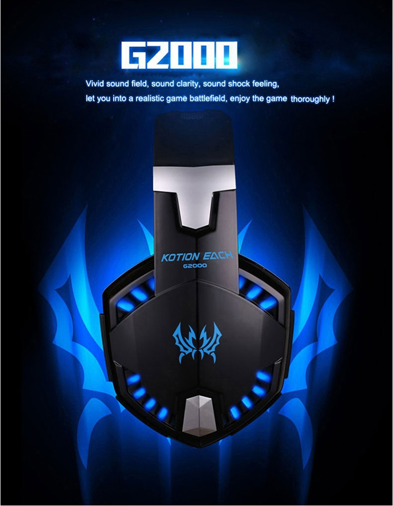 Best casque Computer Stereo Gaming Headphones Deep Bass Game Earphone Headset Gamer with Microphone Mic LED Light for PC Game  (3)