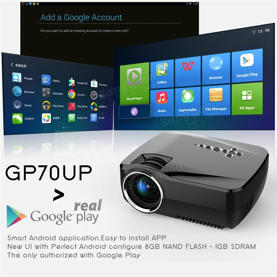 b8897cc4aa13b8 GP70UP Android 4.4 Mini LED Projector with Google Play Updated by GP70 Portable  Projector 1G/