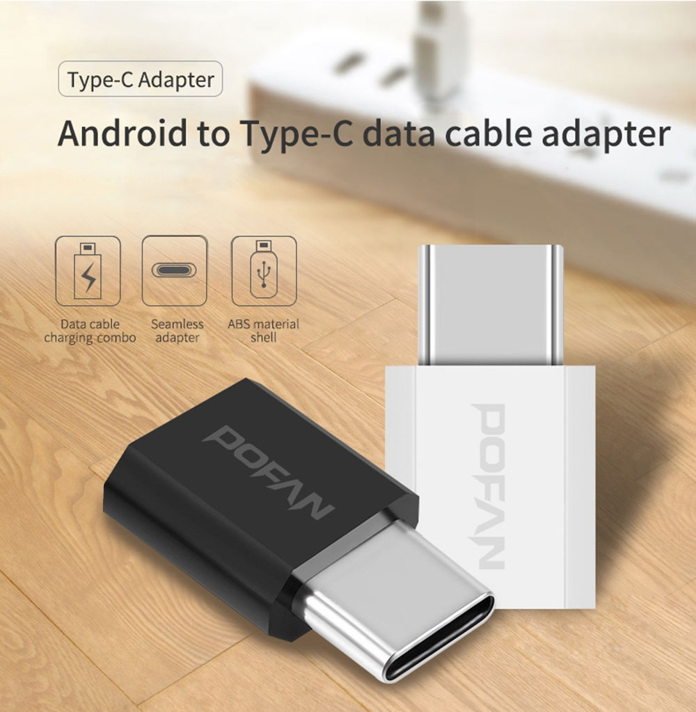 POFAN Mini Portable Micro USB to Type-C Data Sync Charging Adapter Connector