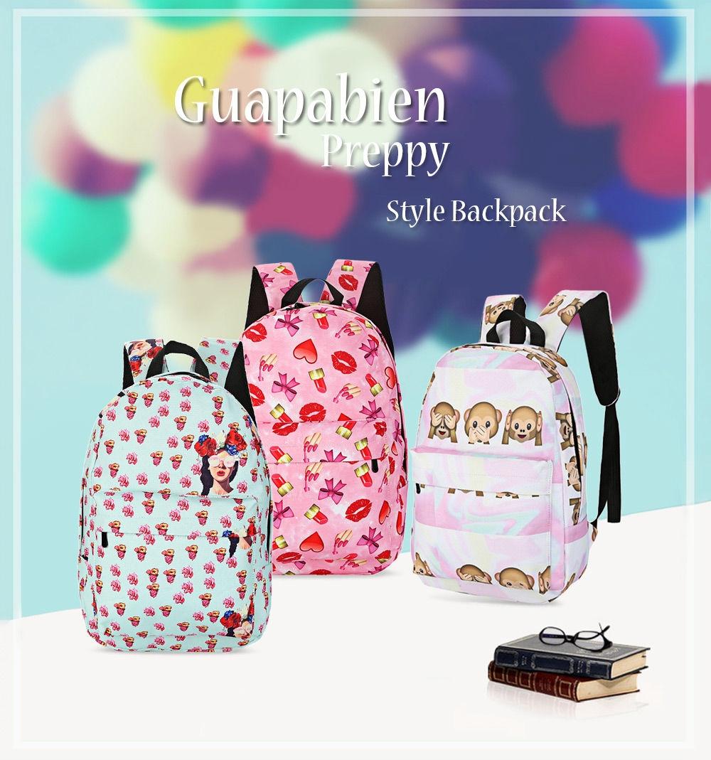 4f9f0355a998 Generic Leadsmart Guapabien Preppy Style Print Backpack School Bag ...