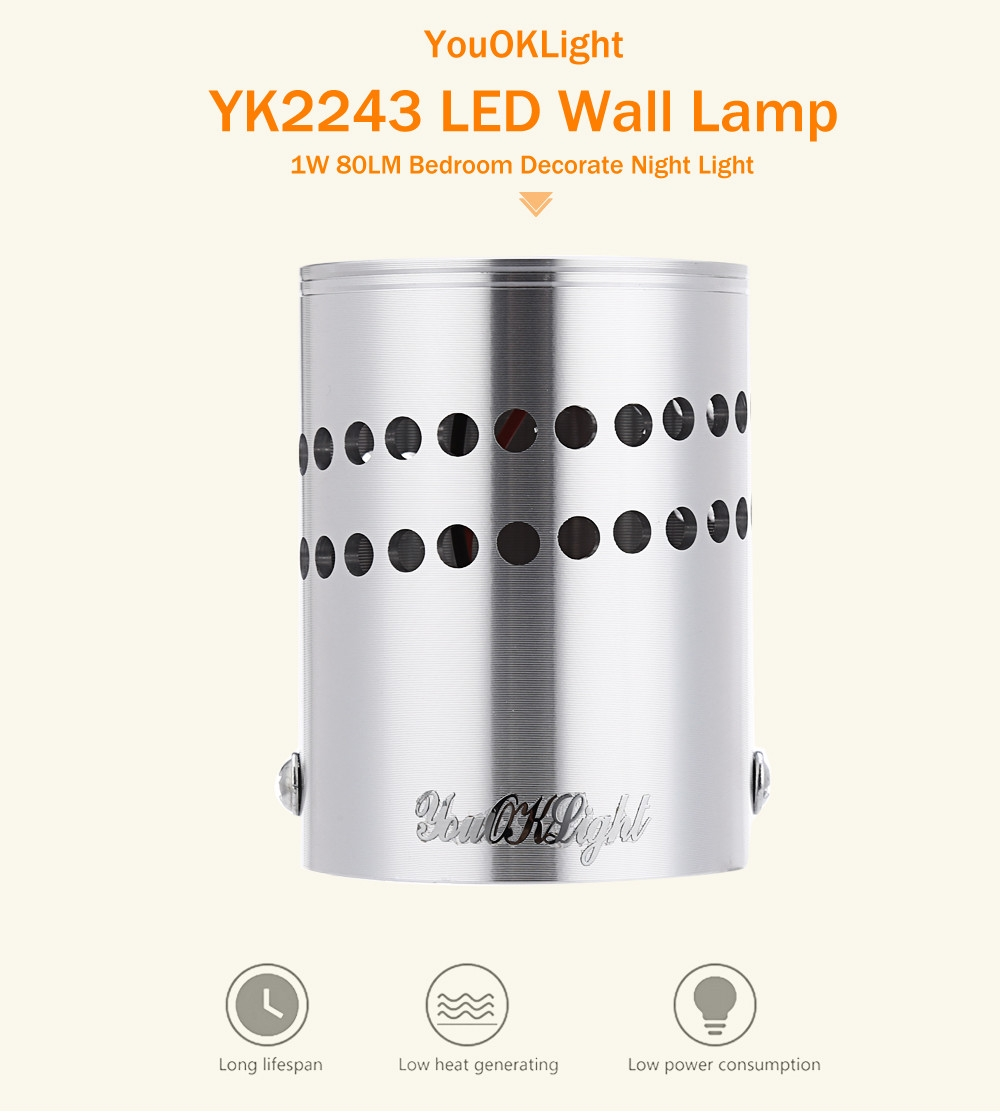 YouOKLight YK2243 1W 80LM LED Wall Lamp Bedroom Decorate Night Light