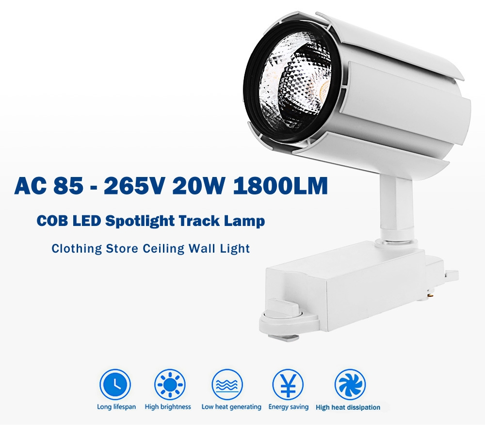 AC 85 - 265V 20W 1800LM COB LED Spotlight Track Lamp Clothing Store Ceiling Wall Light
