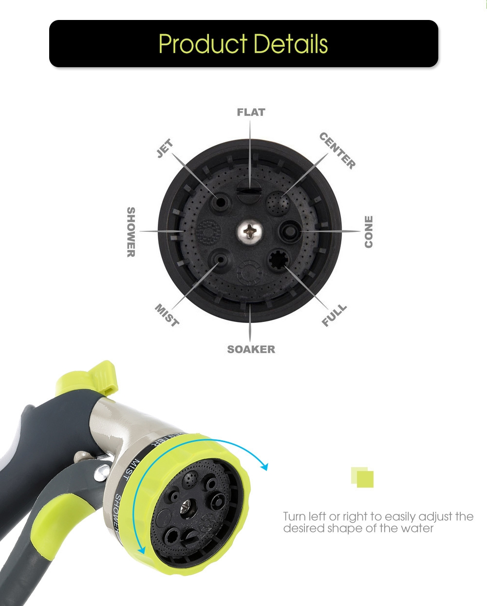 8 Function Garden Hose Nozzle Hand Sprayer