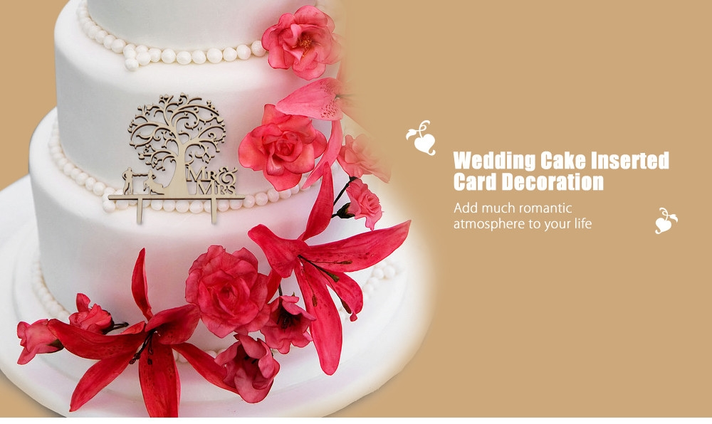 Wooden Letters Birthday Wedding Cake Topper Inserted Card Decoration