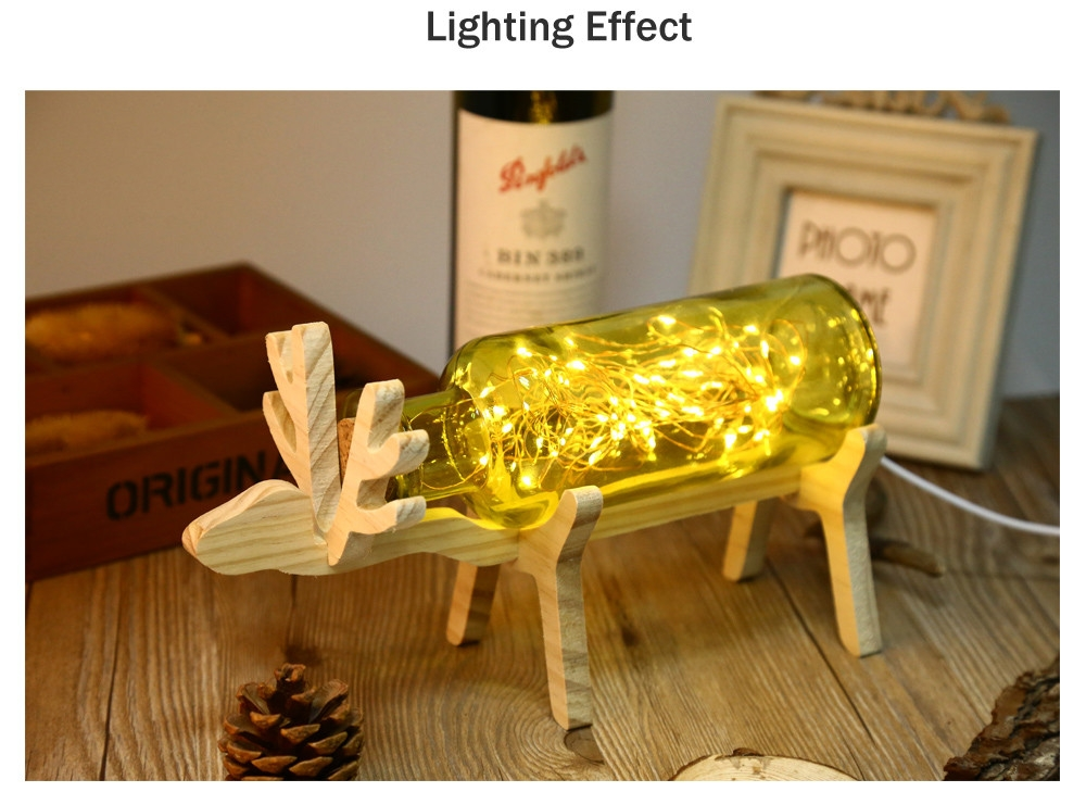 YouOKLight DC 5V 3W 200LM Glass Cover LED Desk Lamp Wood Base Bedside Night Light with 60 LEDs