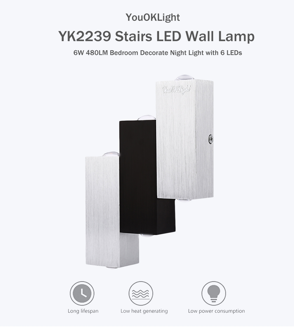 YouOKLight YK2239 6W 480LM Stairs LED Wall Lamp Bedroom Decorate Night Light with 6 LEDs