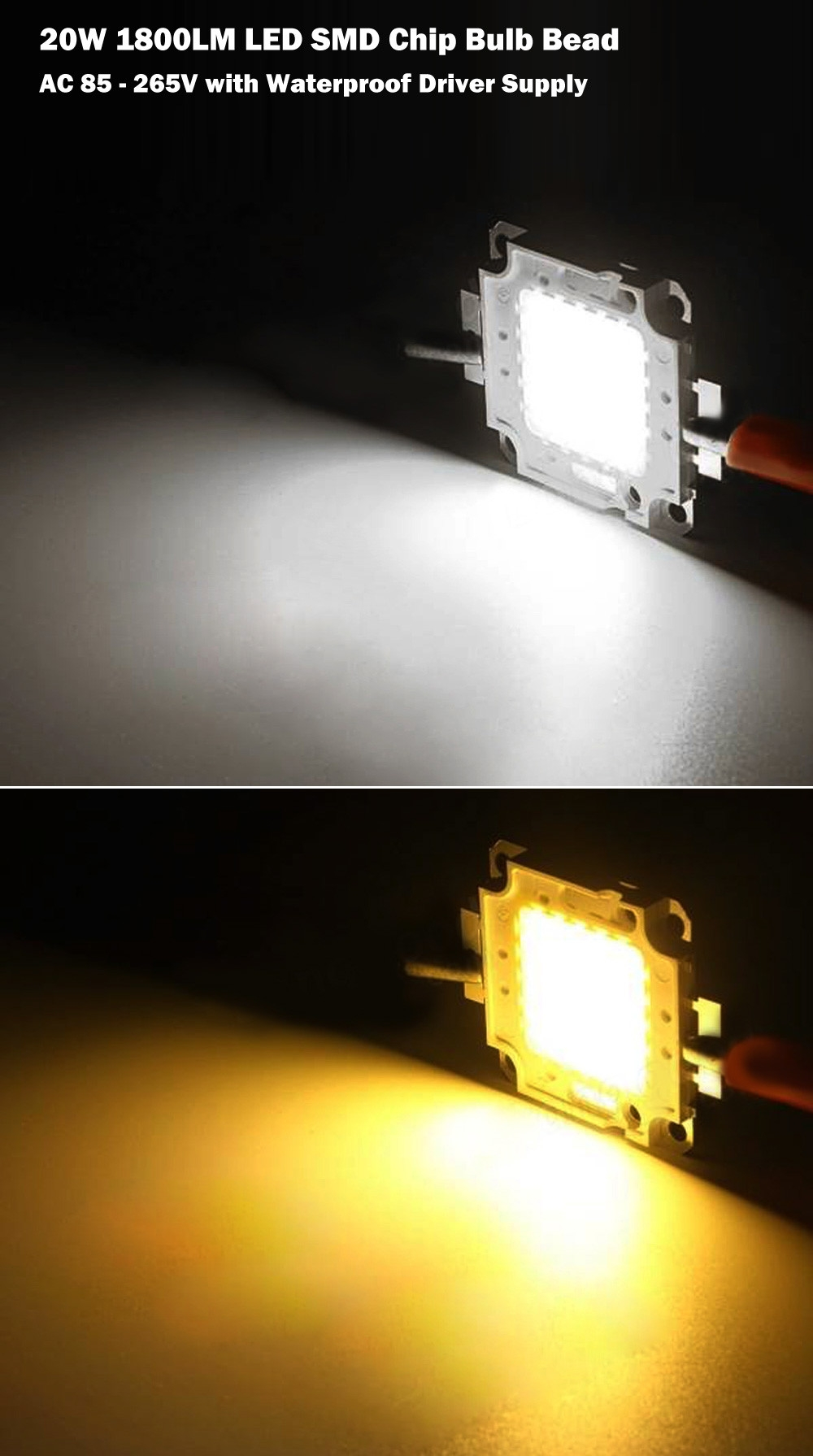AC 85 - 265V 20W 1800LM LED SMD Chip Bulb Bead with Waterproof Driver Supply