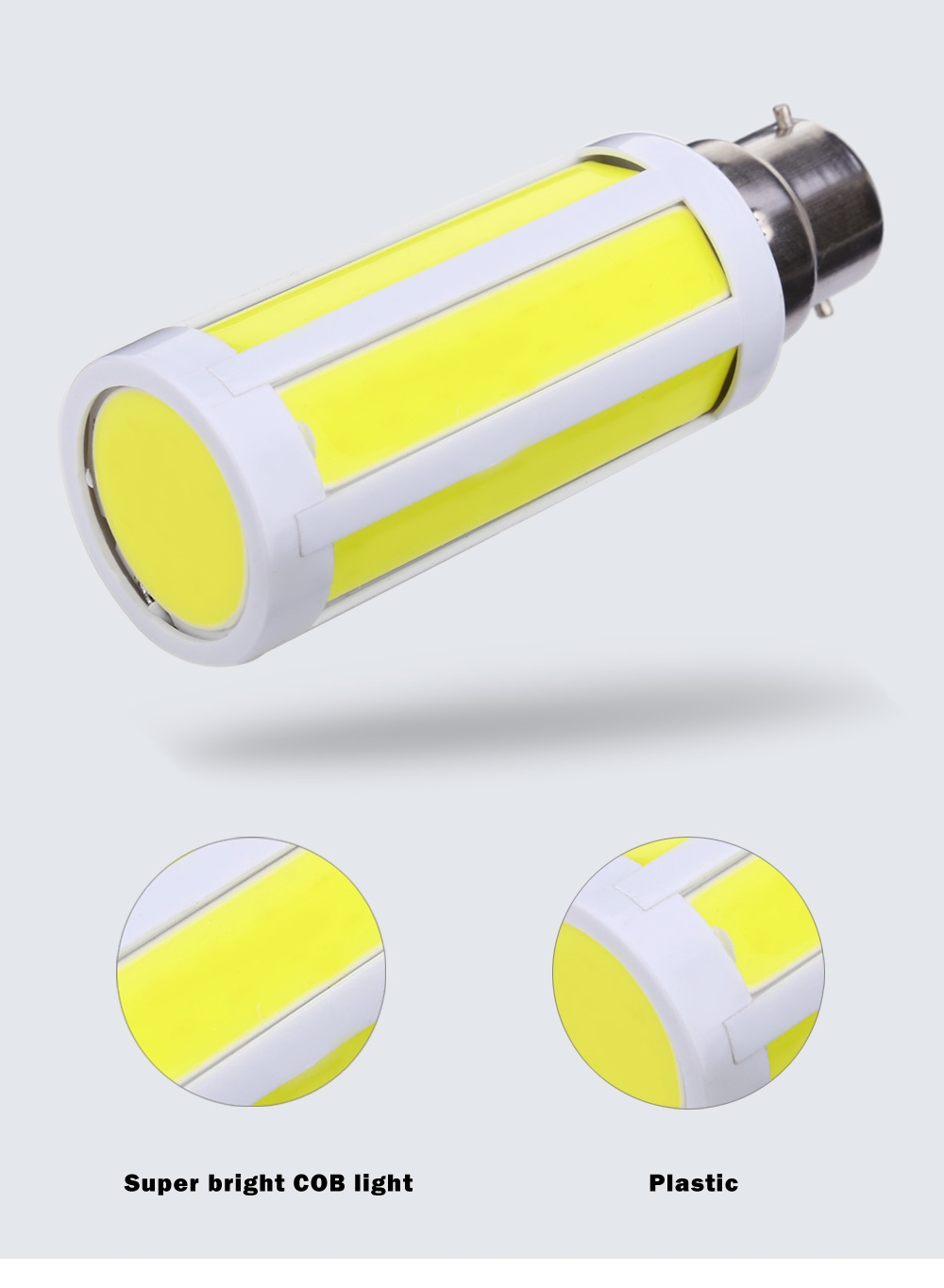 AC 220V B22 7W 600 - 700LM LED COB Corn Bulb Light Energy Saving Lamp