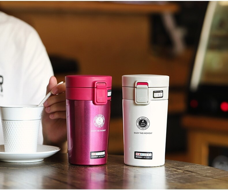 Cute Thermose Cup Thermal Bottle for coffee Vacuum Flasks Cafe Thermose hand touch stainless steel (8)