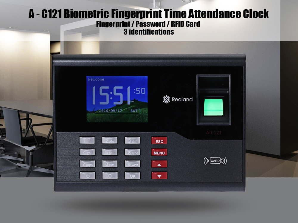 Realand A - C121 TFT Fingerprint Time Attendance Clock Employee Payroll Recorder 3 Identification Mode for Company School