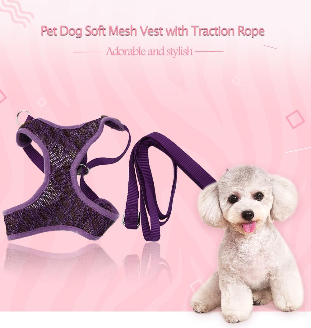 XuanCheng Adjustable Dog Plaid Style Vest Mesh Cloth Pet Harness Leash Strap
