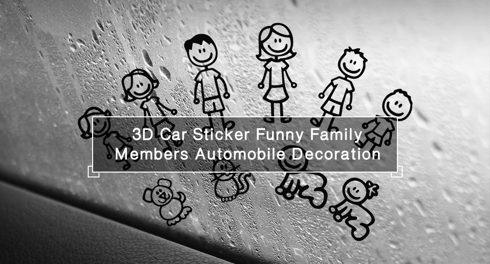 3D Car Sticker Funny Family Members Automobile Decoration Decal