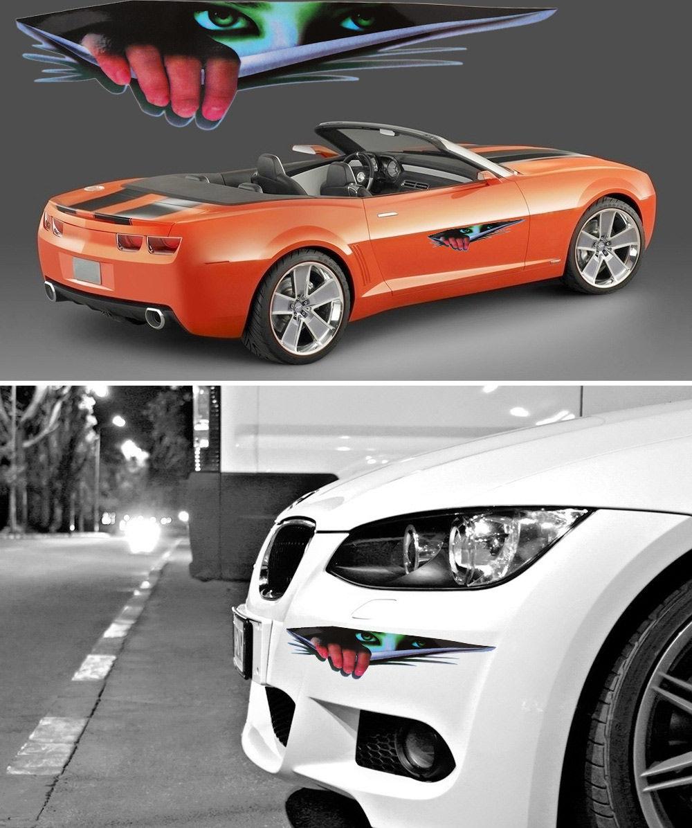 3D Simulation Devil Thriller Eyes Car Walls Sticker Funny Peeking Decals