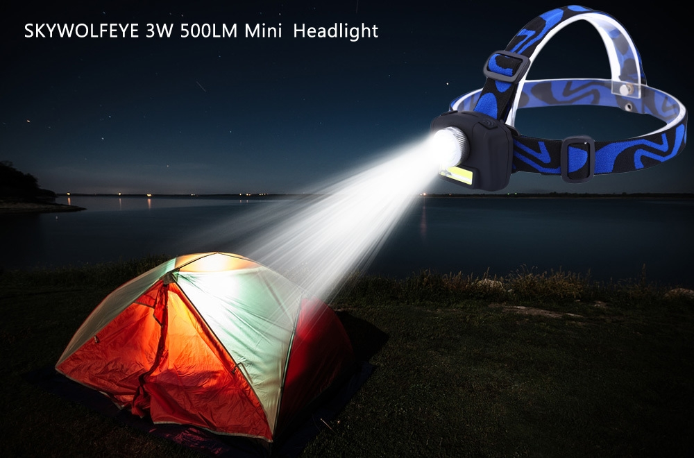 SKYWOLFEYE S152 3W 500LM Mini Rotating Headlight Outdoor Camping Lamp