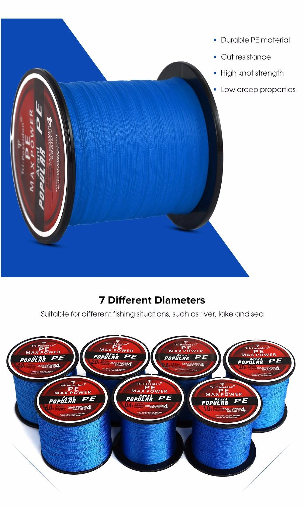 Triposeidon 300M Super Strong PE Braided Fishing Line 8 - 60 LB