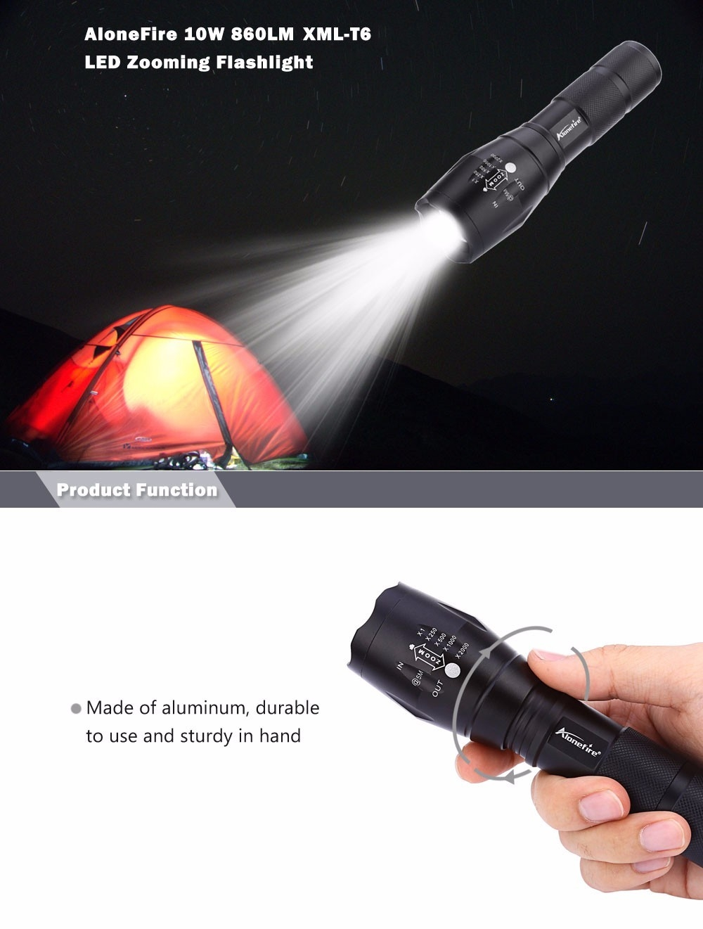 AloneFire E17 A100 3.7V 10W 860LM XML-T6 LED Zooming Flashlight 5 Modes Water Resistant Searchlight