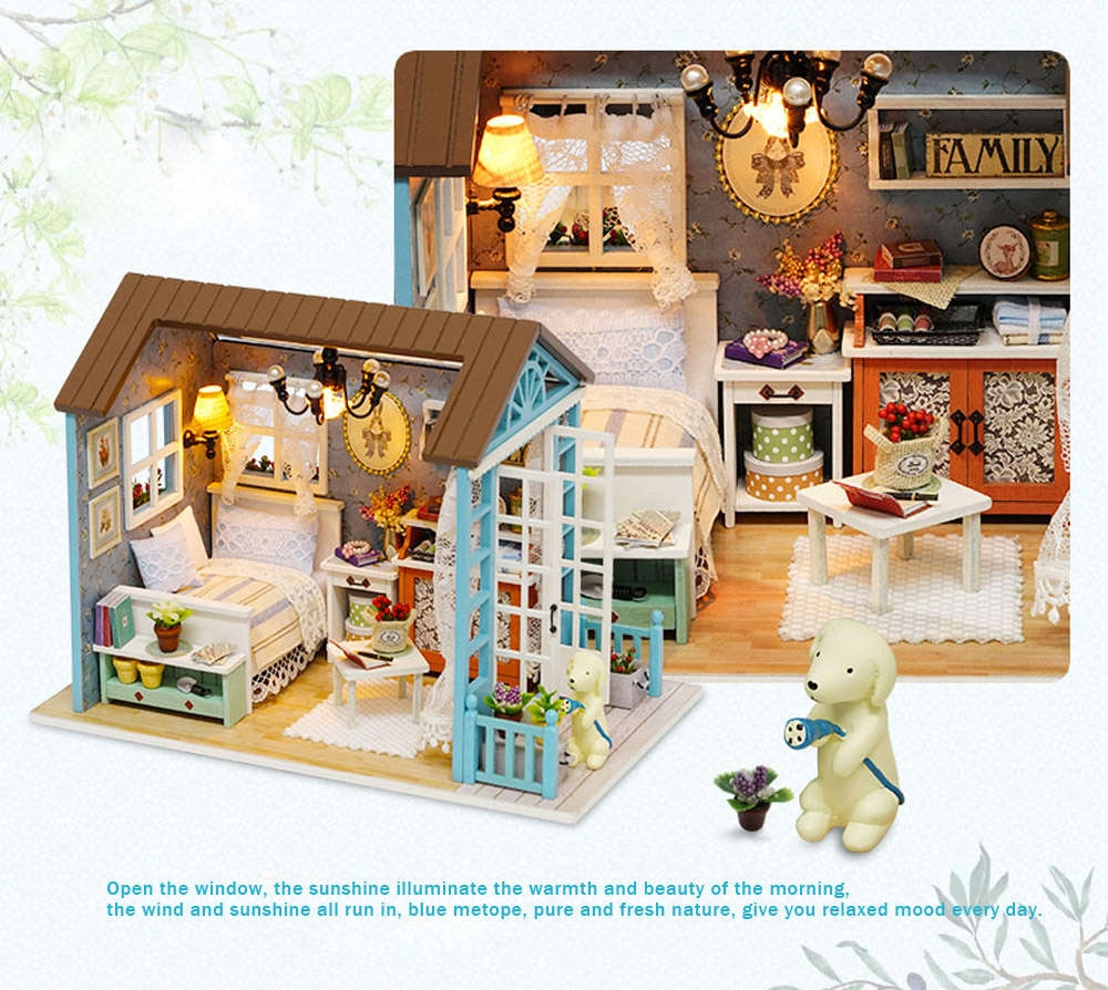 Doll Miniature Wooden House Studio Kit LED Light Furniture DIY Handcraft Toy