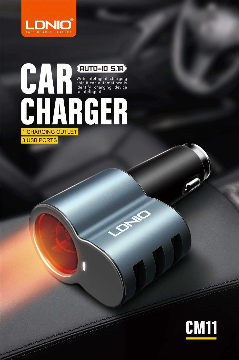 Sale On Cm11 3 Ports Car Charger With Cable For Andorid 51a Ldnio 34a Auto Id Usb Port