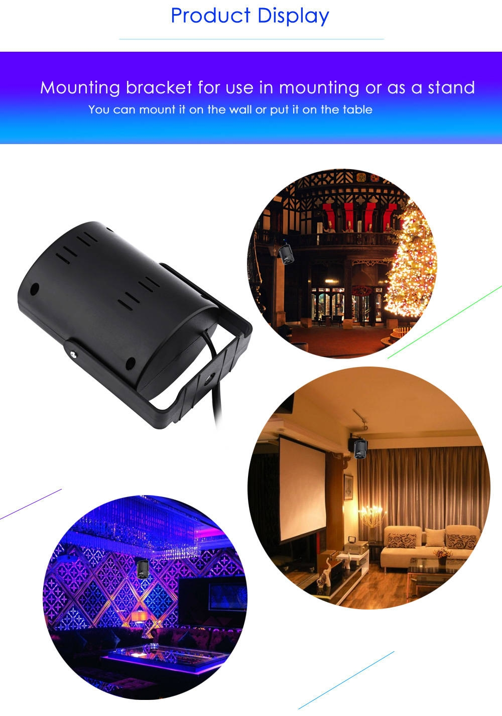 Lightme Multicolor AC 85 - 260V 4W LED Stage Light Projection Lamp with 4PCS Switchable Pattern Lens