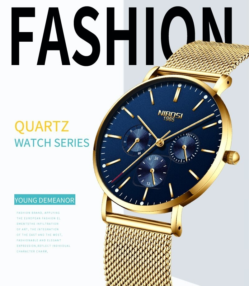 NIBOSI Luxury Brand 2018 Men Watches Ultra Thin Watches For Men Famous Brand Watch With Date men waterproof Relogio Masculino    (1)