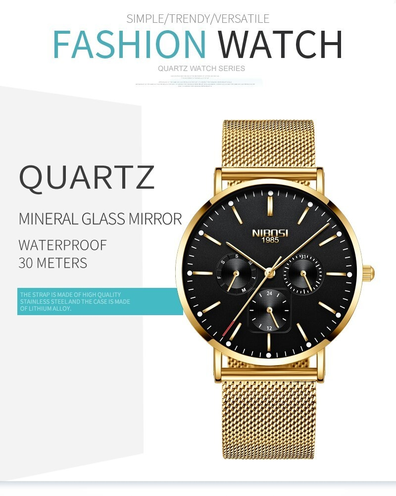 NIBOSI Luxury Brand 2018 Men Watches Ultra Thin Watches For Men Famous Brand Watch With Date men waterproof Relogio Masculino    (4)