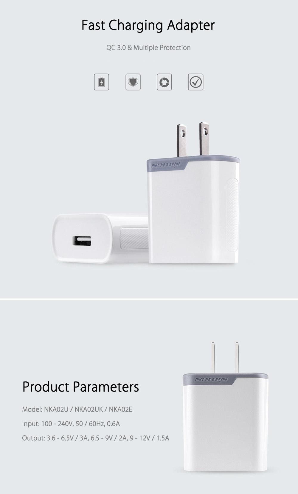 NILLKIN QC 3.0 Single USB Output Smart Charging Adapter